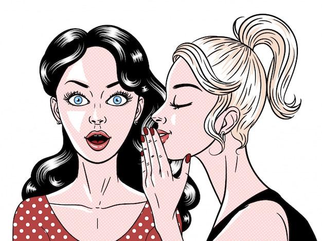 Estilo cómico hermosas mujeres jóvenes cotilleando, expresión sorprendida, secreto, omg, wow, pop art, ilustración