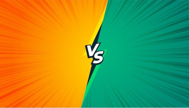 Estilo cómico versus banner vs en color amarillo y turquesa