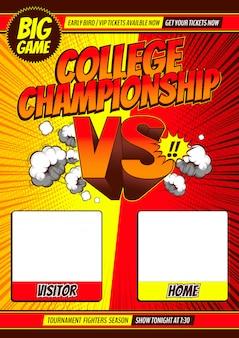 Estilo cómico versus fondo de batalla, ilustración.