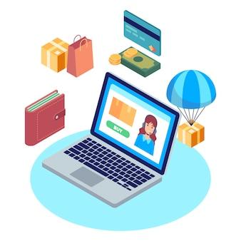 Estilo de concepto de comercio electrónico isométrico