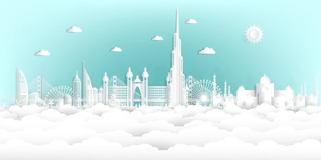 Estilo de corte de papel en los emiratos árabes unidos y el horizonte de la ciudad con monumentos famosos del mundo.