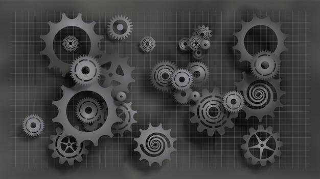 Estilo de corte de papel, engranajes y engranajes negros realistas en un plano gris