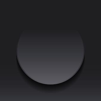 Estilo de corte de papel de etiqueta de nota redonda de círculo gris oscuro