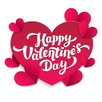 Estilo de corte de papel de letras y corazones de san valentín