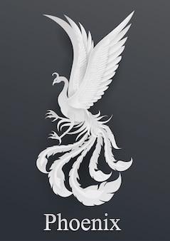 Estilo de corte de papel de phoenix sobre fondo negro