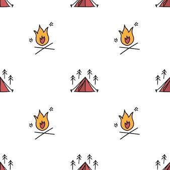 Estilo de dibujo de ilustración de fondo de iconos de camping