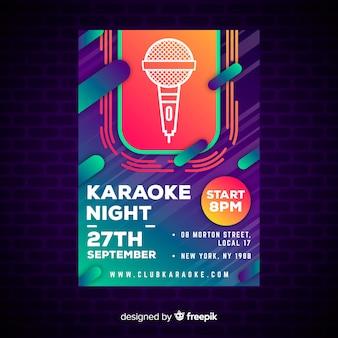 Estilo de degradado de plantilla de póster de karaoke