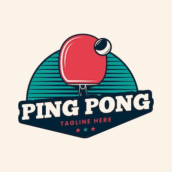 Estilo detallado del logo de tenis de mesa