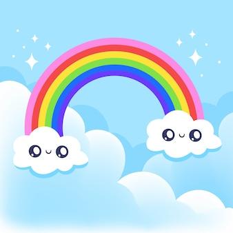 Estilo dibujado a mano del arco iris