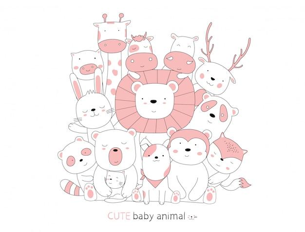 Estilo dibujado a mano. bosquejo de dibujos animados los animales del bebé postura linda