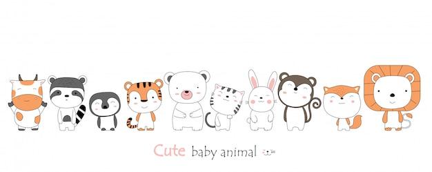 Estilo dibujado a mano. bosquejo de dibujos animados la postura linda animales bebé
