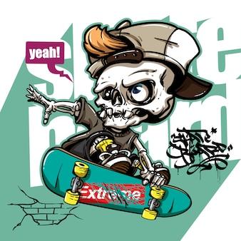 Estilo dibujado a mano de cráneo montando patineta