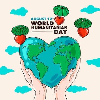 Estilo dibujado a mano día mundial humanitario