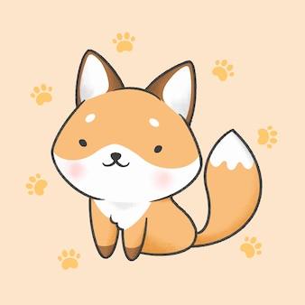 Estilo de dibujado a mano de dibujos animados de fox