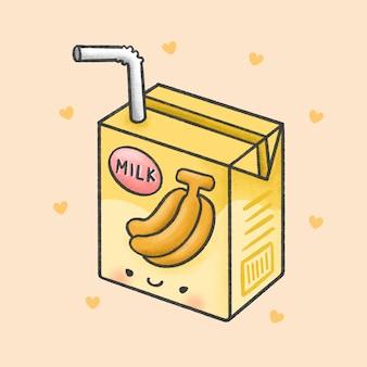Estilo de dibujado a mano de dibujos animados de leche de plátano
