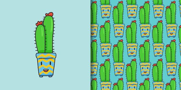Estilo de dibujado a mano de dibujos animados lindo cactus