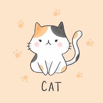 Estilo de dibujado a mano de dibujos animados lindo gato
