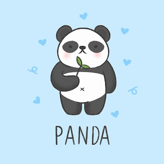 Estilo dibujado a mano de dibujos animados lindo panda