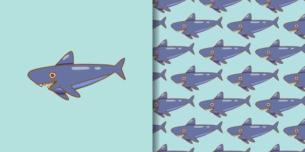 Estilo dibujado a mano de dibujos animados de tiburón
