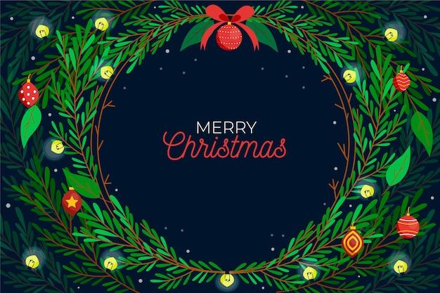 Estilo de dibujado a mano de fondo de ramas de árbol de navidad