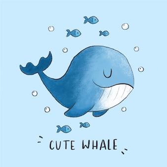 Estilo dibujado mano linda ballena de dibujos animados