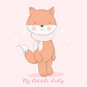 Estilo dibujado mano linda de la historieta del zorro del bebé