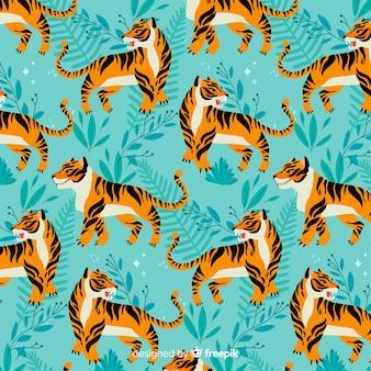Estilo dibujado a mano de patrón de tigre