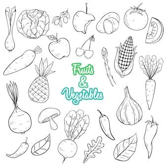 Estilo dibujado a mano verduras y frutas con color blanco y negro