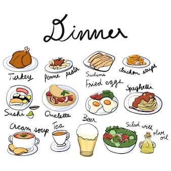 Estilo de dibujo de la ilustración de la colección de alimentos