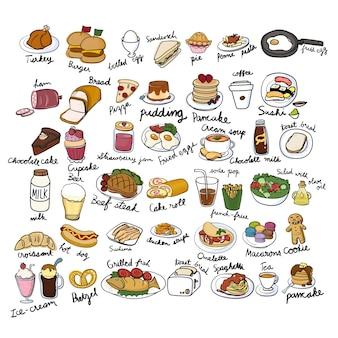 Estilo de dibujo de ilustración de la colección de alimentos