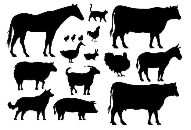 Estilo de dibujo de la ilustración de la colección de animales de granja