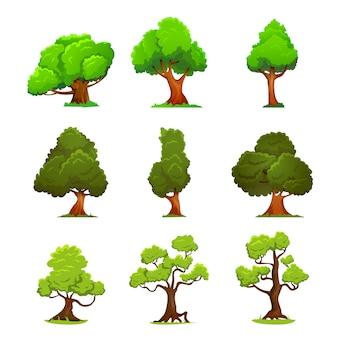 Estilo de dibujos animados de árbol verde