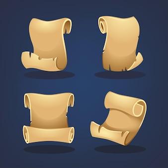 Estilo de dibujos animados de colección de pergamino para su juego móvil o diseño de aplicación