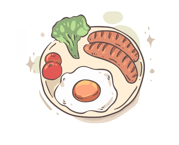 Estilo de dibujos animados desayuno doodle. desayuno ilustración vectorial