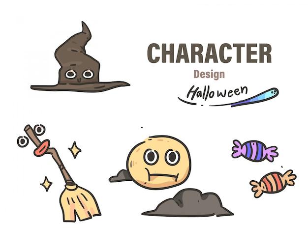 Estilo de dibujos animados doodle de halloween. víspera de todos los santos