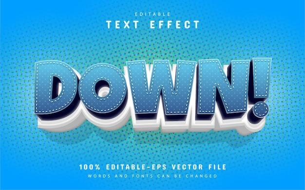 Estilo de dibujos animados de efecto de texto hacia abajo