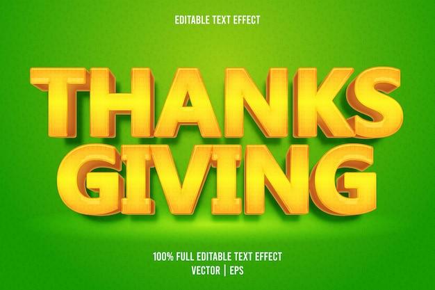Estilo de dibujos animados de efecto de texto editable de acción de gracias