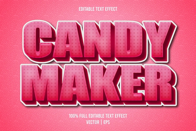 Estilo de dibujos animados de efecto de texto editable de candy maker