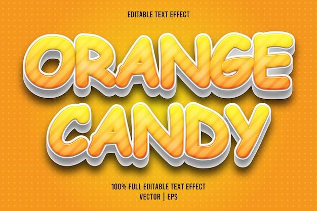 Estilo de dibujos animados de efecto de texto editable de caramelo naranja