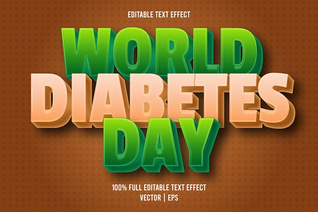 Estilo de dibujos animados de efecto de texto editable del día mundial de la diabetes