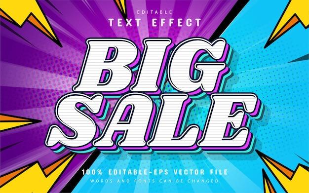 Estilo de dibujos animados de efecto de texto de gran venta