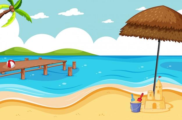Estilo de dibujos animados de escena de playa tropical y playa de arena