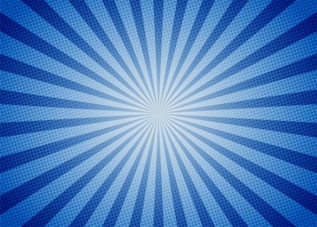 Estilo de dibujos animados de fondo azul comic abstracto. luz de sol.