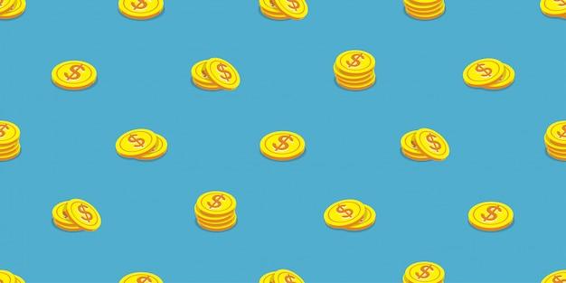 Estilo de dibujos animados de fondo de patrones sin fisuras de monedas de dinero