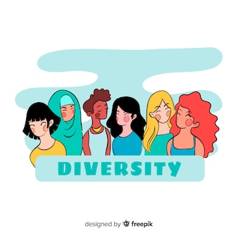 Estilo de dibujos animados de fondo de personas diferentes
