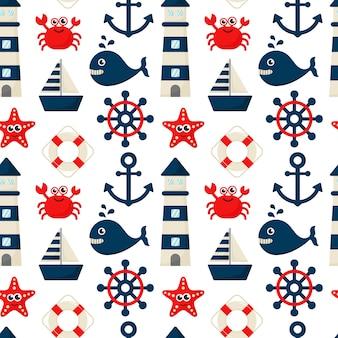 Estilo de dibujos animados de iconos náuticos de patrones sin fisuras