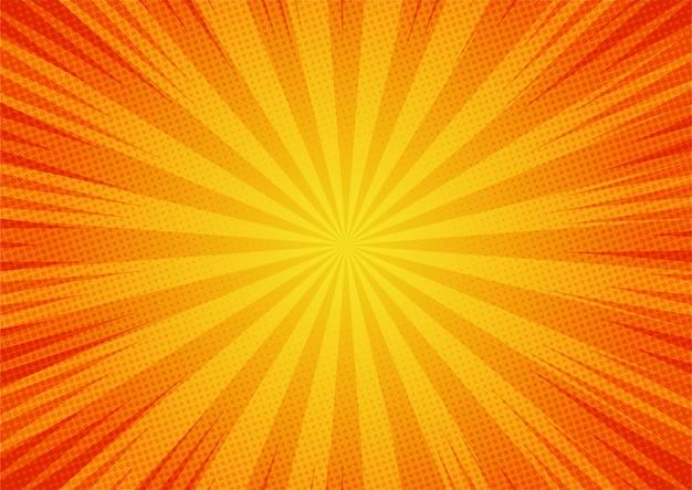 Estilo de dibujos animados de ilustración amarilla cómica abstracta. luz del sol. antecedentes