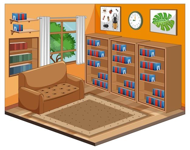Estilo de dibujos animados interior de sala de biblioteca en blanco