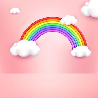 Estilo de dibujos animados lindo arco iris 3d con fondo rosa pastel