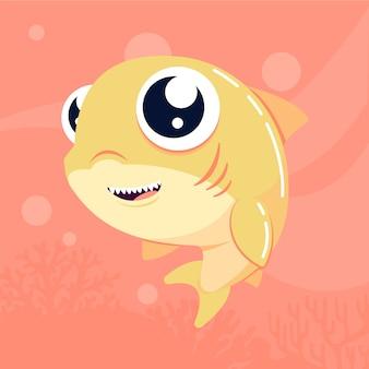 Estilo de dibujos animados lindo bebé tiburón